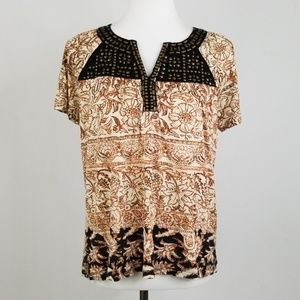 Lucky Brand Aztec Print Embellished Neck Top